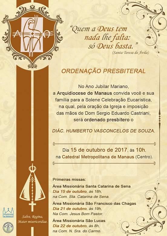Convite Ordenação Presbiteral de Humberto Vasconcelos